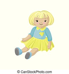 Cute blonde soft doll in a dress, sewing toy cartoon vector Illustration