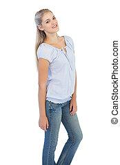 Cute blonde woman posing
