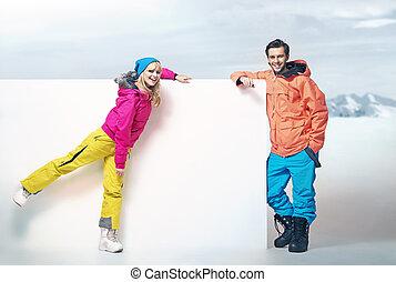 Cute blonde woman with her attractive boyfriend