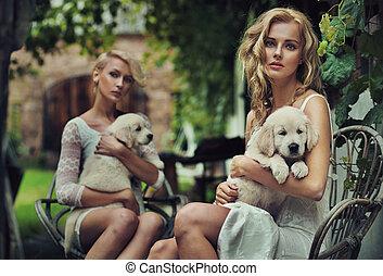cute, blondie, dois, abraçando, filhotes cachorro