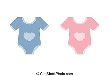 cute blue and pink bodysuit with heart for baby boy and girl