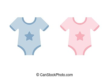 cute blue and pink bodysuit with star for baby boy and girl