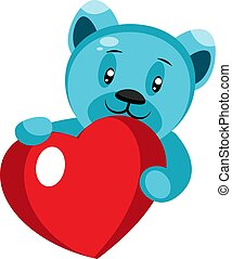 Cute blue bear holding a heart illustration vector on white background