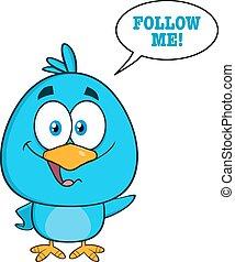 Cute Blue Bird Cartoon Character