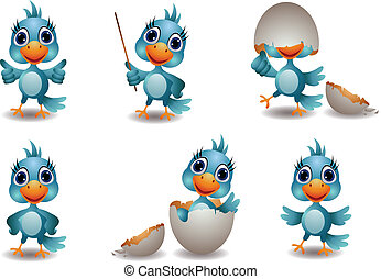 cute blue bird collection - vector illustration of cute blue...