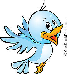cute blue bird flying cartoon