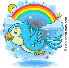 Cute blue bird flying with rainbow background
