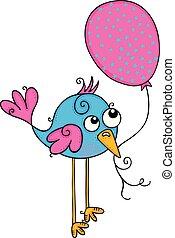 Cute blue bird holding a pink balloon
