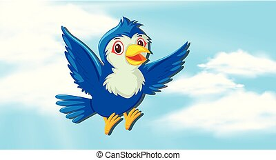 Cute blue bird in sky