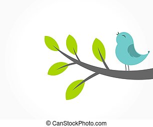Cute blue bird singing on the tree branch.