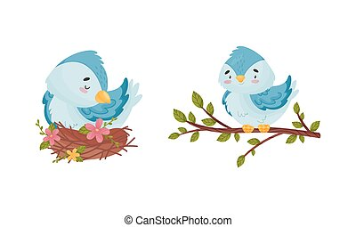Cute Blue Bird Sitting in the Nest and on Tree Branch Vector Set