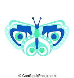 Cute blue butterfly vector Illustration