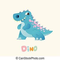 Cute Blue Cartoon Baby Dino. Bright Colorful dinosaur....