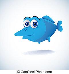 cute blue cartoon fish - illustration
