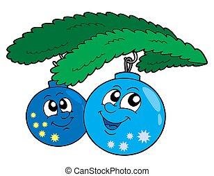 Cute blue Christmas globes