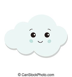 Cute blue cloud icon isolated on white background.