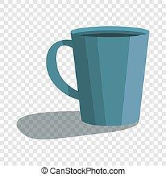 Cute blue cup icon, cartoon style