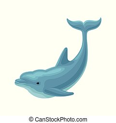 Cute blue dolphin vector Illustration on a white background