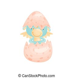Cute blue dragon hatched from an egg. Vector illustration on white background.