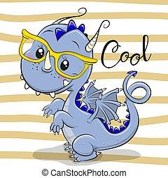 Cute Blue Dragon in a Yellow eyeglasses