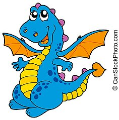 Cute blue dragon - isolated illustration.