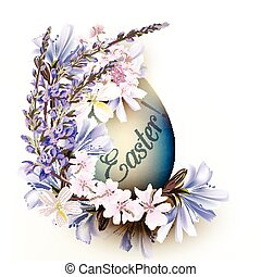 Cute blue Easter egg with flowers