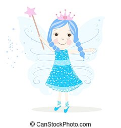 Cute blue fairy vector.eps