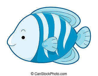 Cute Blue Fish with Clipping Path