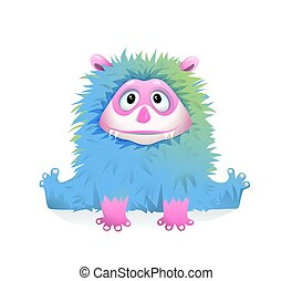Cute Blue Fluffy Baby Monster Mascot for Kids