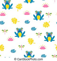 Cute blue frogs seamless vector pattern.