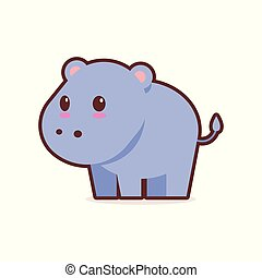 cute blue hippopotamus cartoon comic character with smiling face happy emoji anime kawaii style funny animals for kids concept