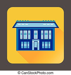 Cute blue house icon, flat style