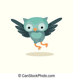 Cute blue owlet flying, sweet owl bird cartoon character vector Illustration on a white background