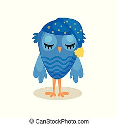 Cute blue owlet sleeping, sweet owl bird cartoon character vector Illustration on a white background