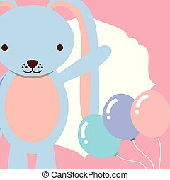 cute blue rabbit with balloons decoration