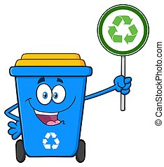 Cute Blue Recycle Bin Cartoon Mascot Character Holding A Recycle Sign