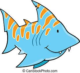 Cute Blue Shark Vector Art