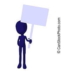Cute Blue Silhouette Guy Holding A Blank Sign - Cute blue...