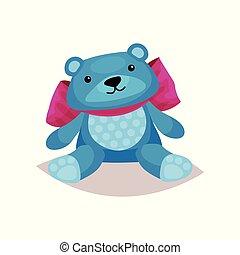 Cute blue teddy bear toy cartoon vector Illustration