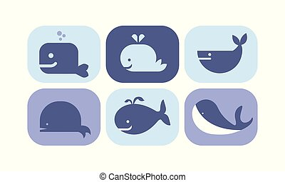 Cute blue whale icons set, sea creature animals signs vector Illustration on a white background