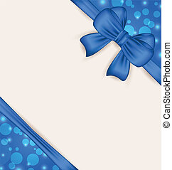 Cute blue wrapping with ribbon bow