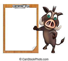 cute Boar cartoon character with exam pad - 3d rendered ...