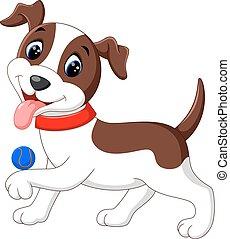 cute, bola, cão, tocando