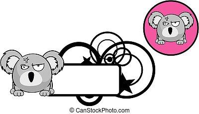 cute, bola, copyspace, koala, expressão, caricatura,...