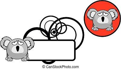cute, bola, copyspace, koala, sticker4, expressão,...
