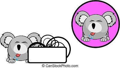 cute, bola, copyspace, koala, sticker8, expressão,...