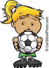 cute, bola, ilustração, jogador, vetorial, segurar passa, menina, futebol, caricatura