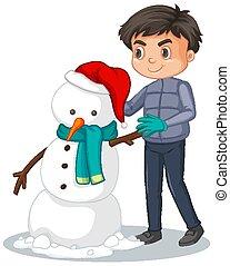 cute, boneco neve, menino, branca, fazer, fundo