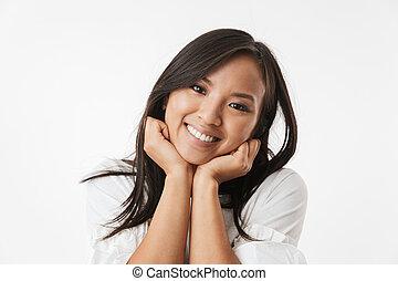 cute, bonito, jovem, mulher asian, isolado