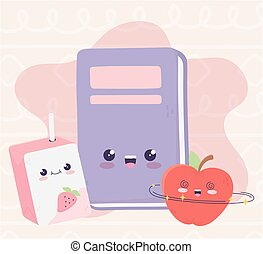 cute book apple and box juice kawaii cartoon character